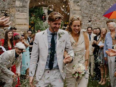 Hochzeitspaar nach Trauung