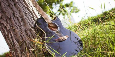 Gitarre am Baum lehnend